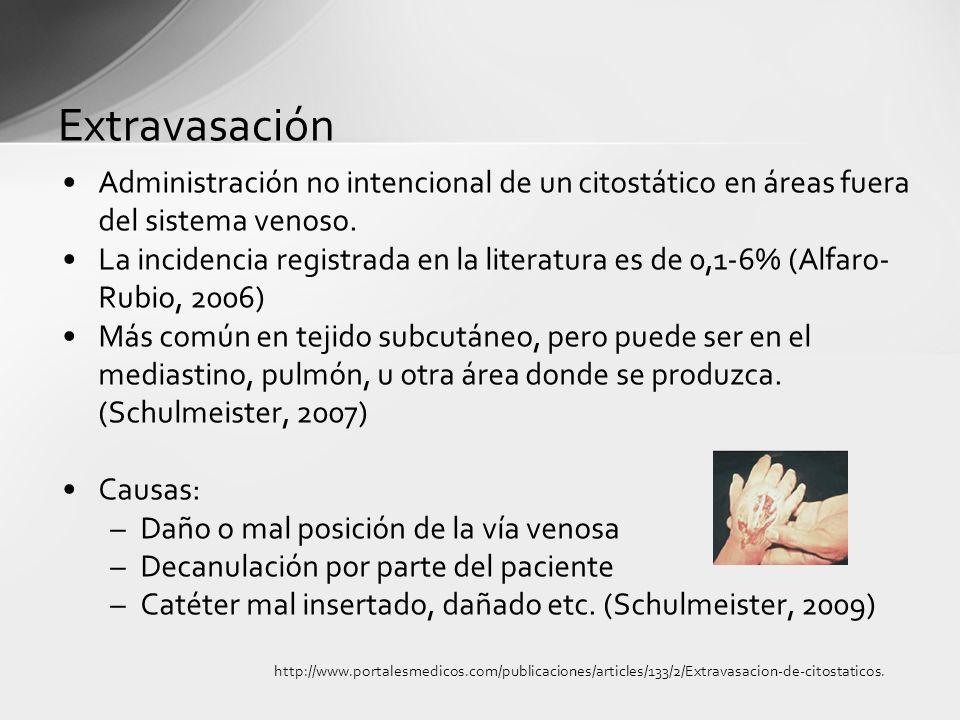 Extravasación Administración no intencional de un citostático en áreas fuera del sistema venoso. La incidencia registrada en la literatura es de 0,1-6