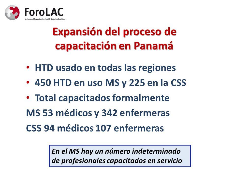 Expansión del proceso de capacitación en Panamá HTD usado en todas las regiones 450 HTD en uso MS y 225 en la CSS Total capacitados formalmente MS 53