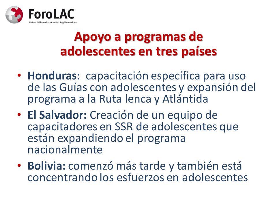 Apoyo a programas de adolescentes en tres países Honduras: capacitación específica para uso de las Guías con adolescentes y expansión del programa a l