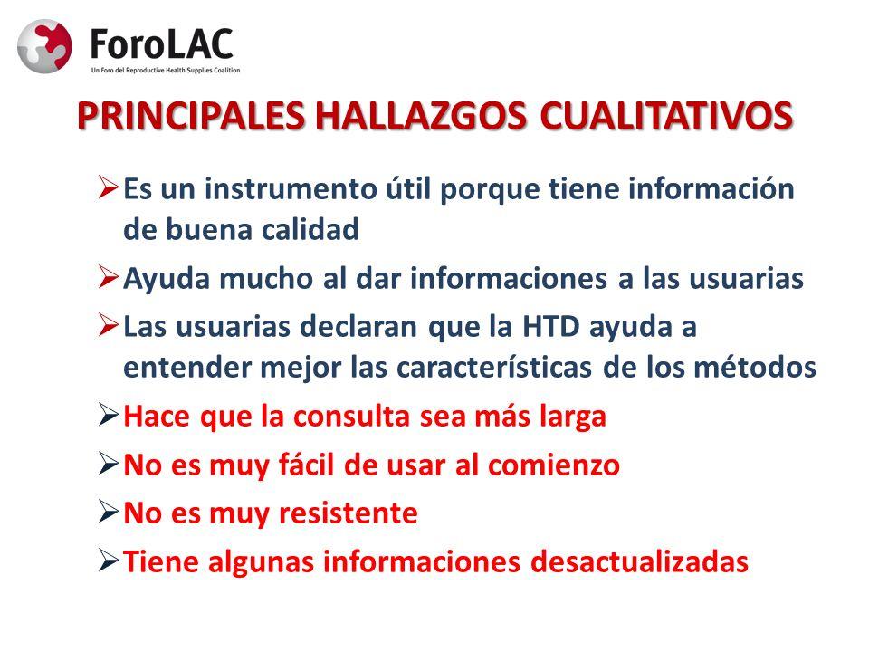 PRINCIPALES HALLAZGOS CUALITATIVOS Es un instrumento útil porque tiene información de buena calidad Ayuda mucho al dar informaciones a las usuarias La