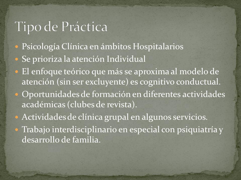 Psicología Clínica en ámbitos Hospitalarios Se prioriza la atención Individual El enfoque teórico que más se aproxima al modelo de atención (sin ser e