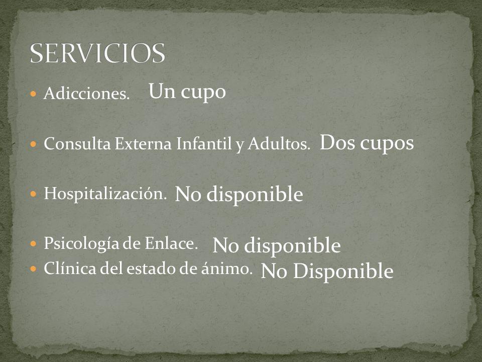 Adicciones. Consulta Externa Infantil y Adultos. Hospitalización. Psicología de Enlace. Clínica del estado de ánimo. Un cupo Dos cupos No disponible N