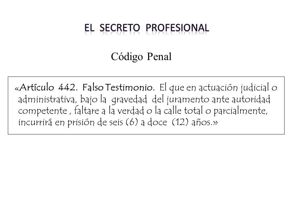 « Artículo 442. Falso Testimonio. El que en actuación judicial o administrativa, bajo la gravedad del juramento ante autoridad competente, faltare a l