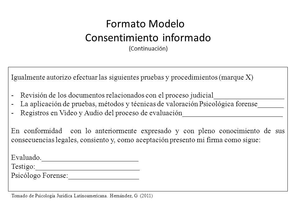 Igualmente autorizo efectuar las siguientes pruebas y procedimientos (marque X) -Revisión de los documentos relacionados con el proceso judicial______
