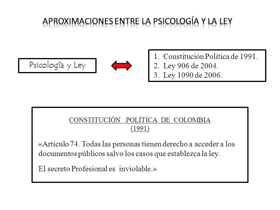 Psicología y Ley 1. Constitución Política de 1991. 2. Ley 906 de 2004. 3. Ley 1090 de 2006. CONSTITUCIÓN POLÍTICA DE COLOMBIA (1991) «Artículo 74. Tod
