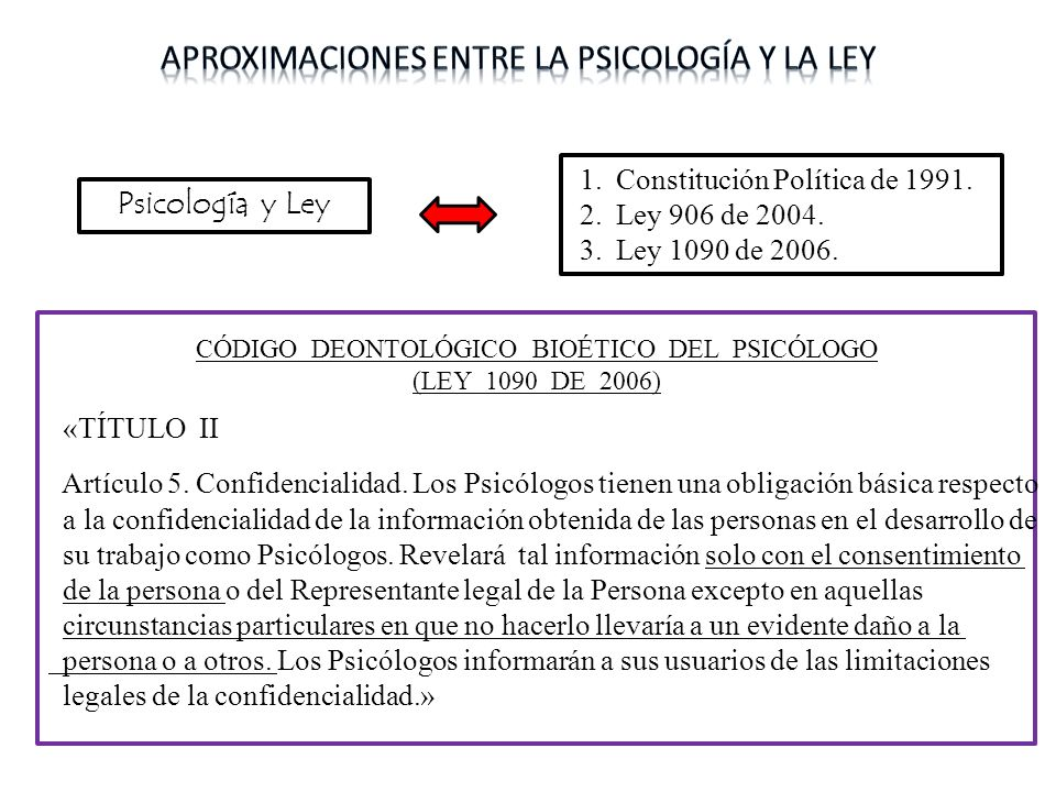 Psicología y Ley CÓDIGO DEONTOLÓGICO BIOÉTICO DEL PSICÓLOGO (LEY 1090 DE 2006) «TÍTULO II Artículo 5. Confidencialidad. Los Psicólogos tienen una obli