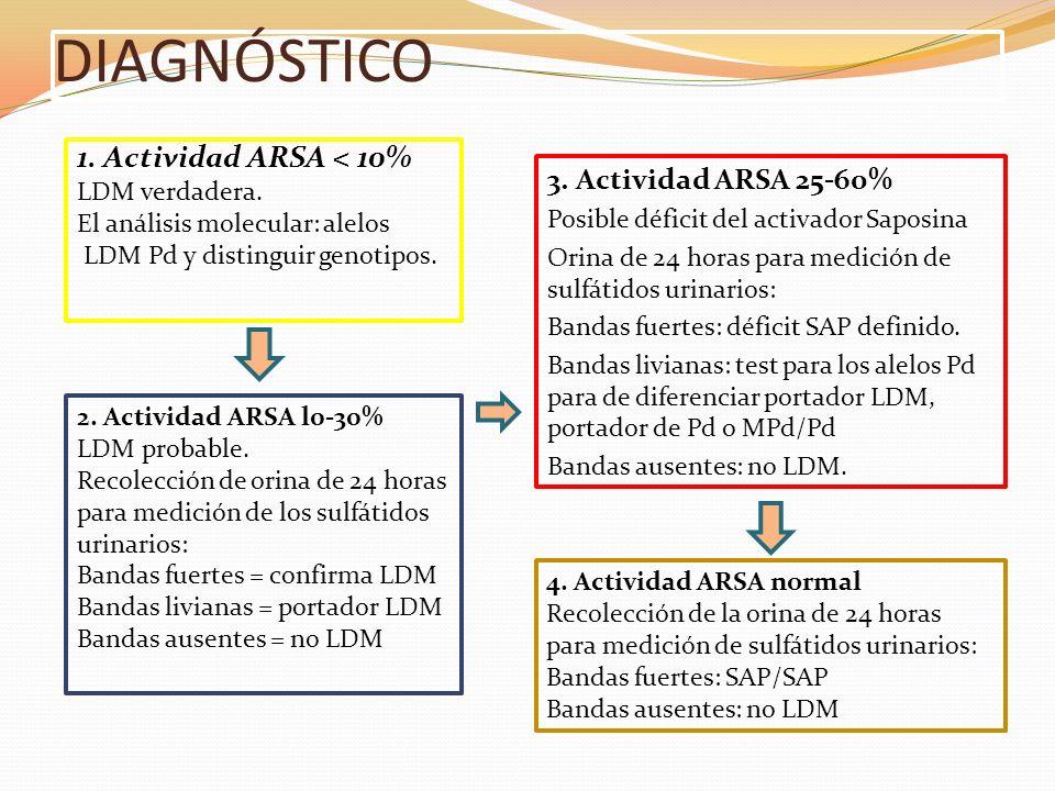 DIAGNÓSTICO 1. Actividad ARSA < 10% LDM verdadera. El análisis molecular: alelos LDM Pd y distinguir genotipos. 3. Actividad ARSA 25-60% Posible défic
