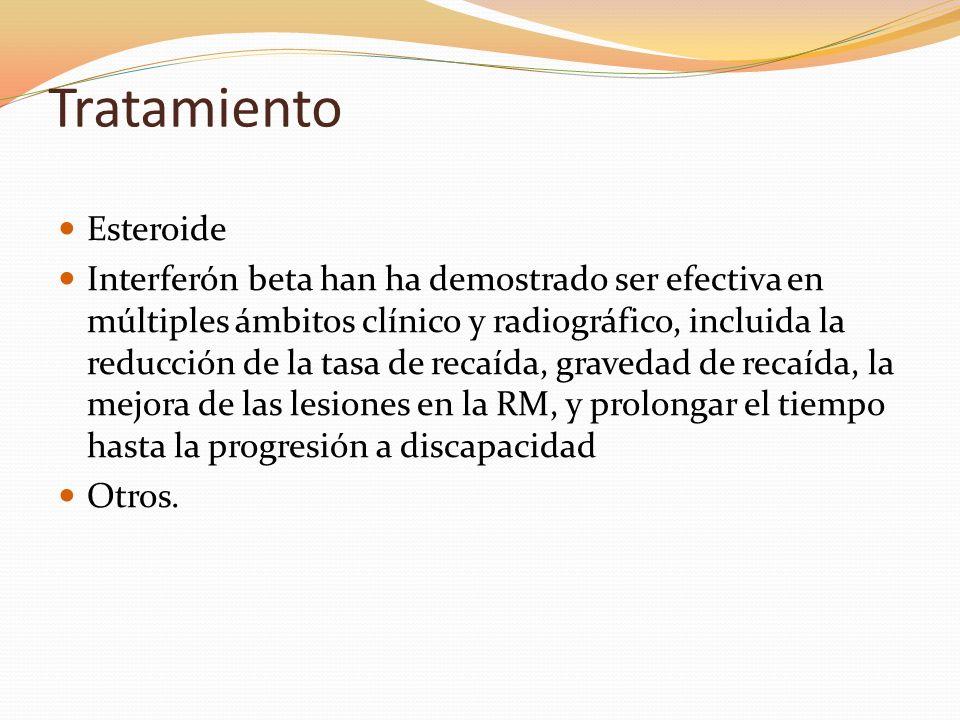 Tratamiento Esteroide Interferón beta han ha demostrado ser efectiva en múltiples ámbitos clínico y radiográfico, incluida la reducción de la tasa de