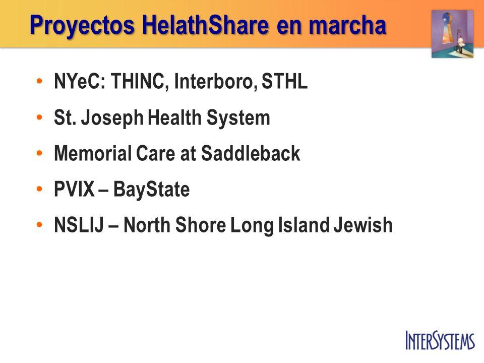 NYeC: THINC, Interboro, STHL St. Joseph Health System Memorial Care at Saddleback PVIX – BayState NSLIJ – North Shore Long Island Jewish Proyectos Hel