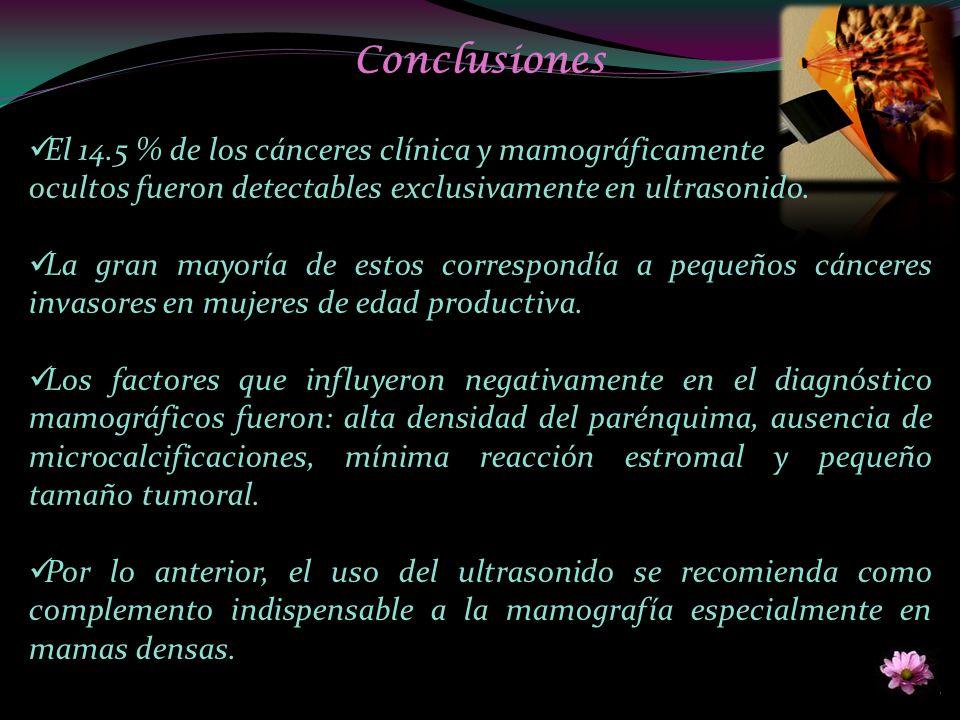 Conclusiones El 14.5 % de los cánceres clínica y mamográficamente ocultos fueron detectables exclusivamente en ultrasonido. La gran mayoría de estos c