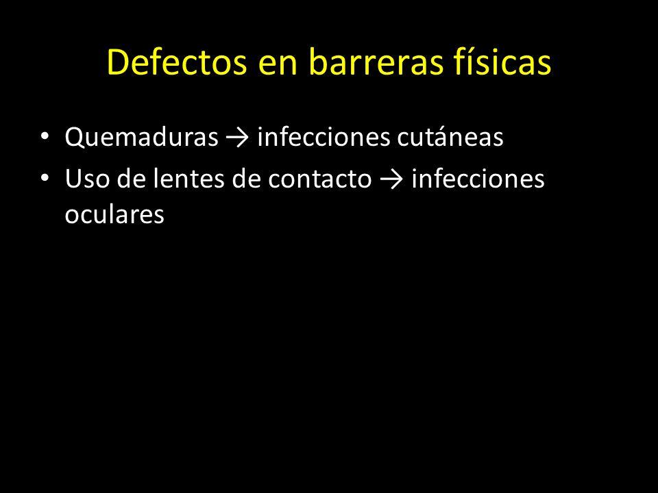 Patologías de la inmunidad innata por defecto Barreras físicas Barreras químicas Barreras biológicas Moléculas Células