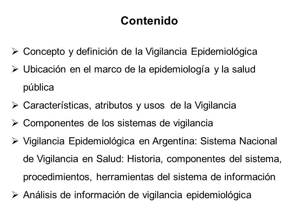 Contenido Concepto y definición de la Vigilancia Epidemiológica Ubicación en el marco de la epidemiología y la salud pública Características, atributo