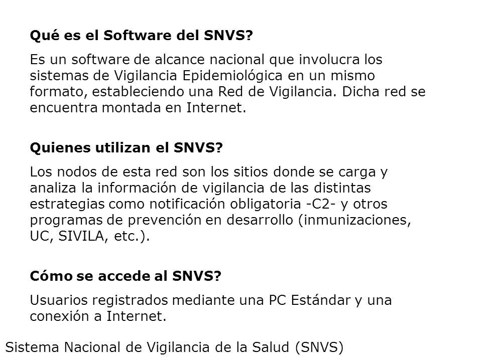 Sistema Nacional de Vigilancia de la Salud (SNVS) Qué es el Software del SNVS? Es un software de alcance nacional que involucra los sistemas de Vigila