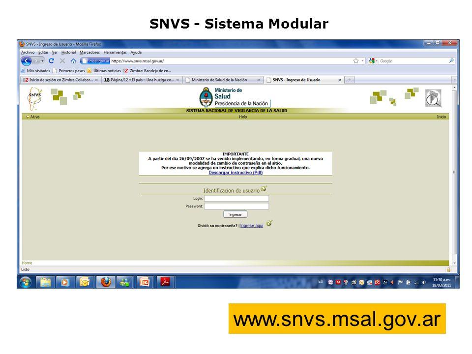SNVS - Sistema Modular www.snvs.msal.gov.ar