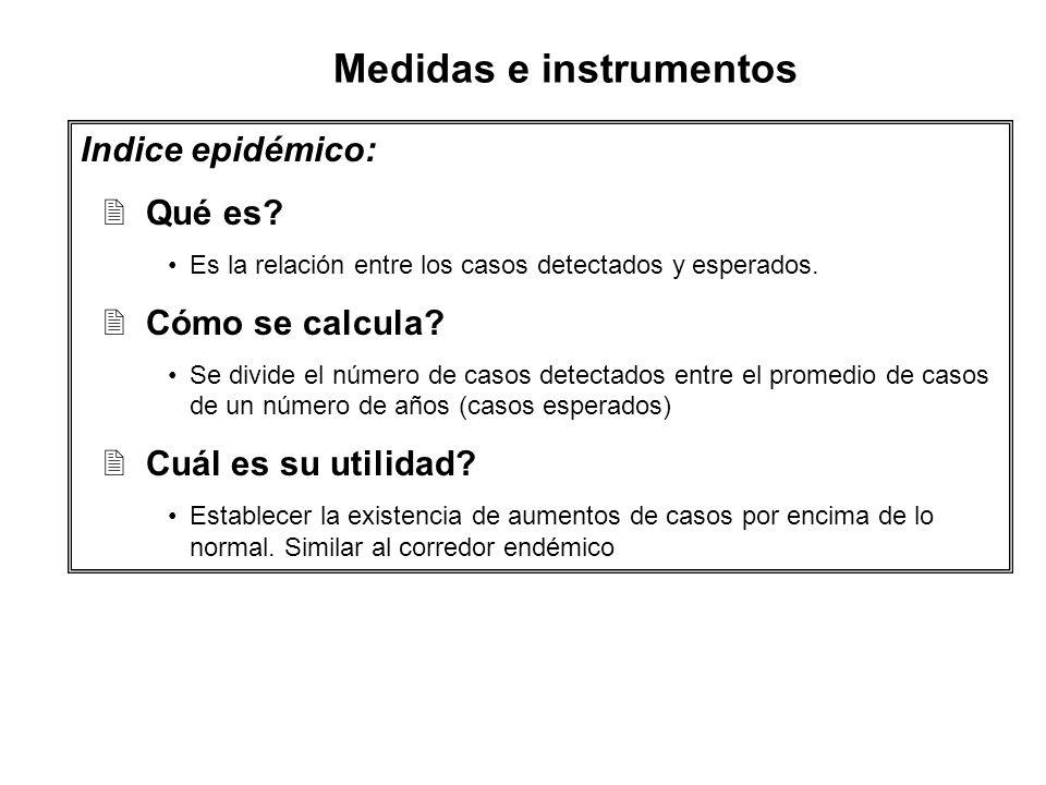 Indice epidémico: 2Qué es? Es la relación entre los casos detectados y esperados. 2Cómo se calcula? Se divide el número de casos detectados entre el p