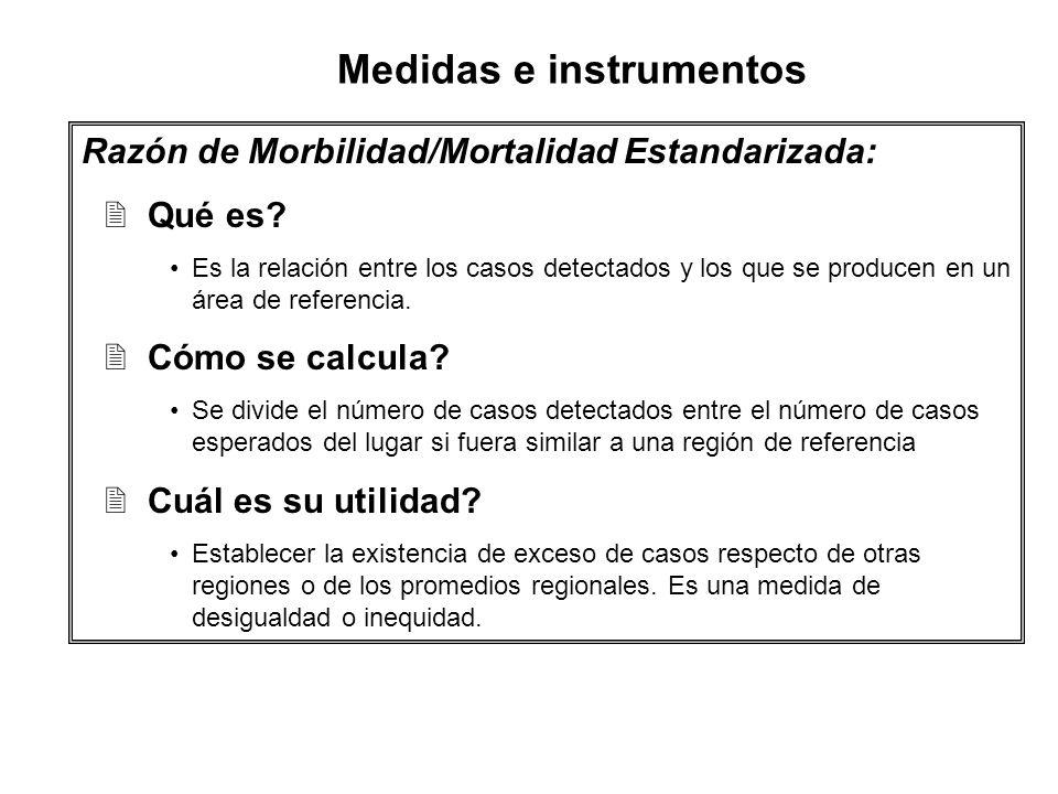 Razón de Morbilidad/Mortalidad Estandarizada: 2Qué es? Es la relación entre los casos detectados y los que se producen en un área de referencia. 2Cómo