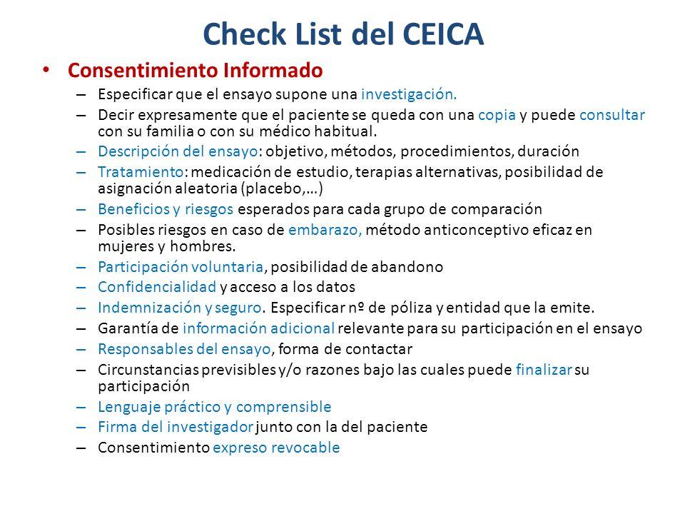 Consentimiento Informado – Especificar que el ensayo supone una investigación.
