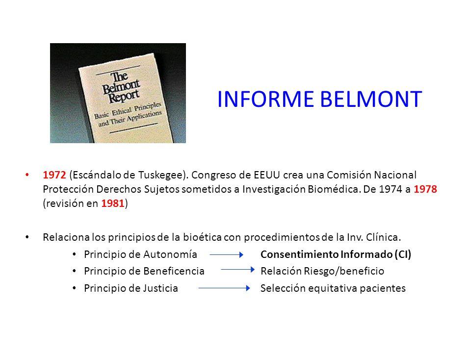 INFORME BELMONT 1972 (Escándalo de Tuskegee).