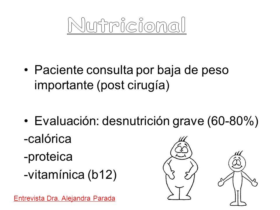 Paciente consulta por baja de peso importante (post cirugía) Evaluación: desnutrición grave (60-80%) -calórica -proteica -vitamínica (b12) Entrevista