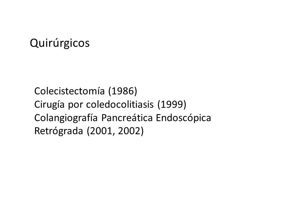 Quirúrgicos Colecistectomía (1986) Cirugía por coledocolitiasis (1999) Colangiografía Pancreática Endoscópica Retrógrada (2001, 2002)
