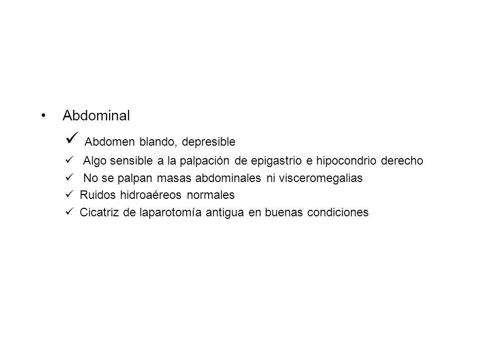 Abdominal Abdomen blando, depresible Algo sensible a la palpación de epigastrio e hipocondrio derecho No se palpan masas abdominales ni visceromegalia