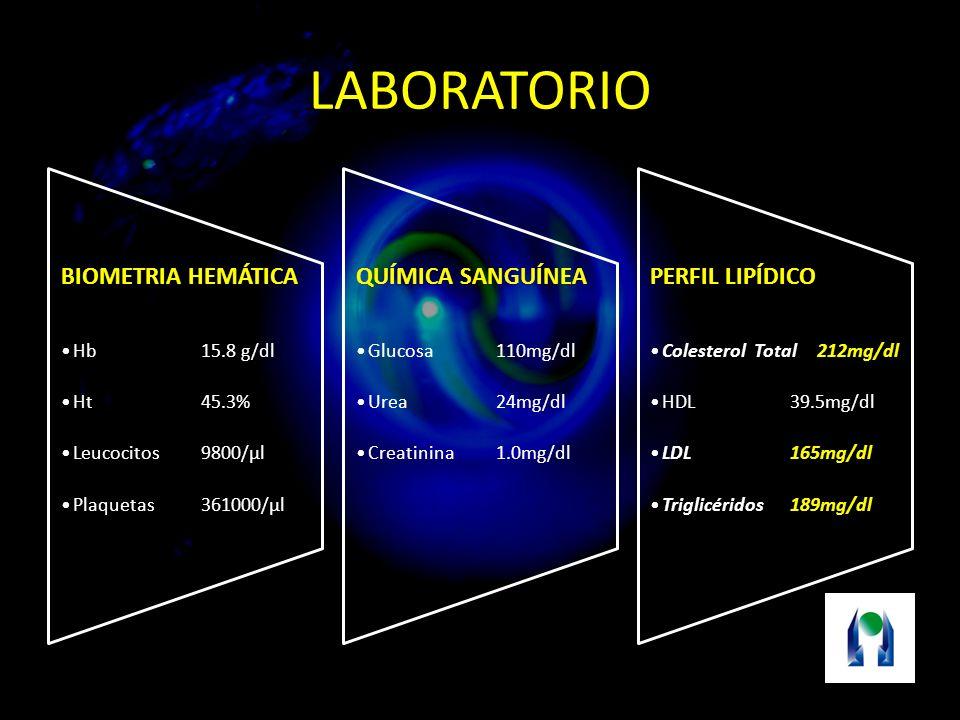 LABORATORIO BIOMETRIA HEMÁTICA Hb15.8 g/dl Ht45.3% Leucocitos9800/µl Plaquetas361000/µl QUÍMICA SANGUÍNEA Glucosa110mg/dl Urea24mg/dl Creatinina1.0mg/dl PERFIL LIPÍDICO Colesterol Total 212mg/dl HDL39.5mg/dl LDL165mg/dl Triglicéridos189mg/dl
