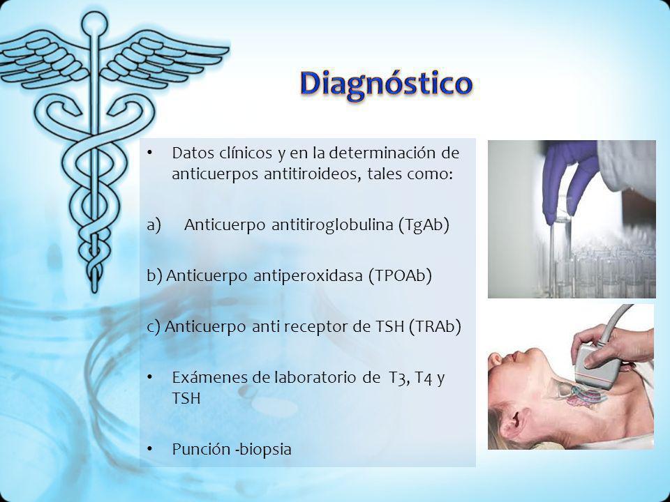 Datos clínicos y en la determinación de anticuerpos antitiroideos, tales como: a)Anticuerpo antitiroglobulina (TgAb) b) Anticuerpo antiperoxidasa (TPO