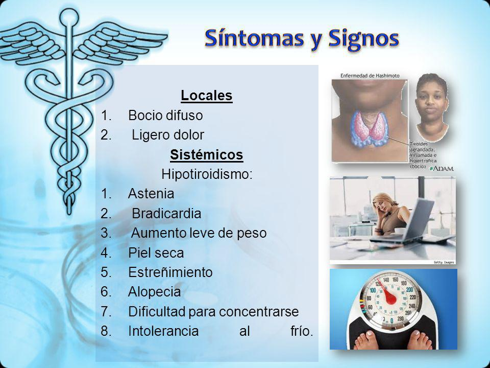 Locales 1.Bocio difuso 2. Ligero dolor Sistémicos Hipotiroidismo: 1.Astenia 2. Bradicardia 3. Aumento leve de peso 4.Piel seca 5.Estreñimiento 6.Alope