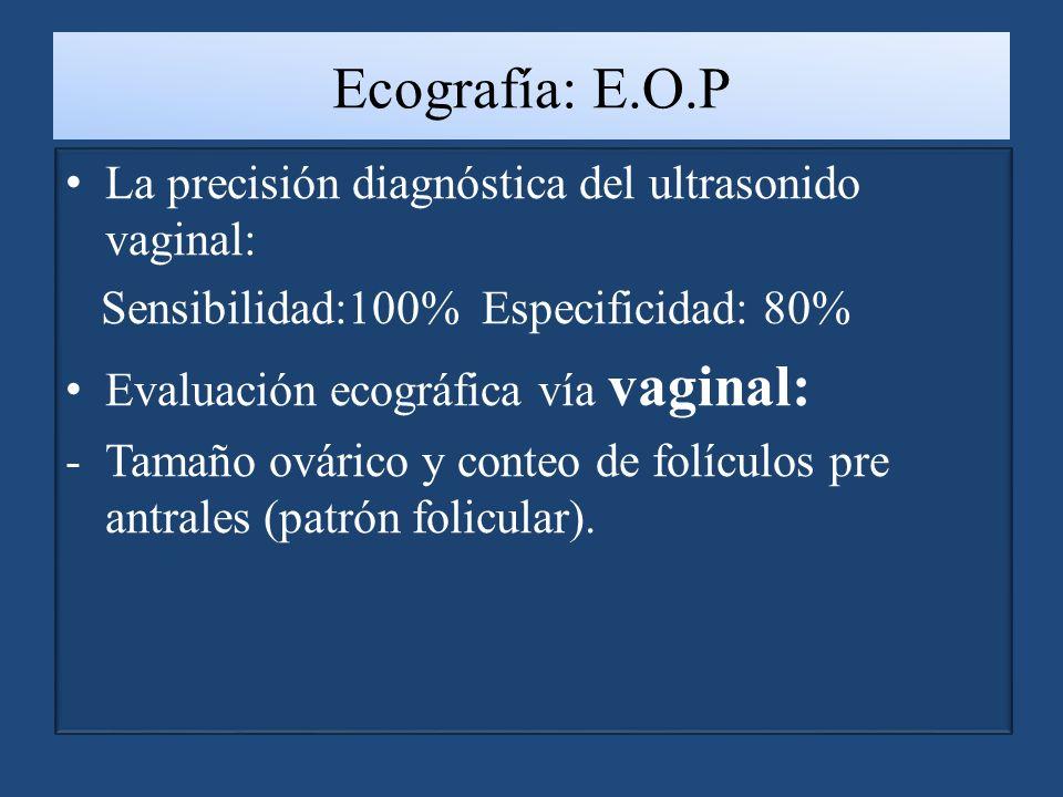 Ecografía: E.O.P La precisión diagnóstica del ultrasonido vaginal: Sensibilidad:100% Especificidad: 80% Evaluación ecográfica vía vaginal: -Tamaño ovárico y conteo de folículos pre antrales (patrón folicular).