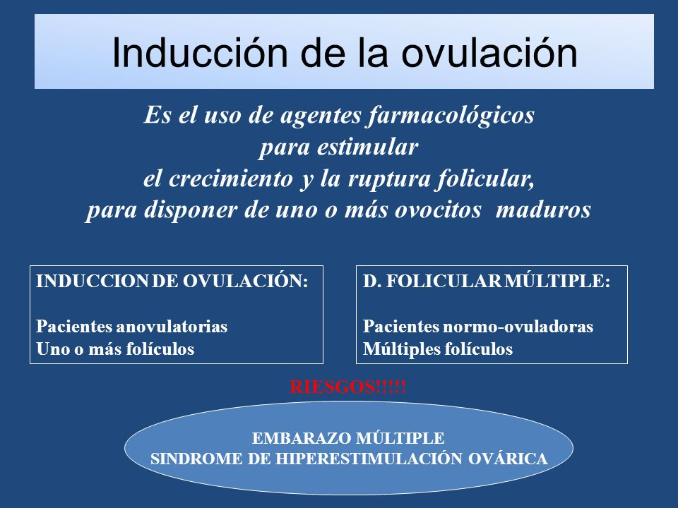 Inducción de la ovulación Es el uso de agentes farmacológicos para estimular el crecimiento y la ruptura folicular, para disponer de uno o más ovocitos maduros D.