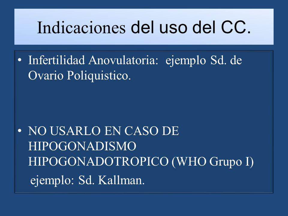 Indicaciones del uso del CC.Infertilidad Anovulatoria: ejemplo Sd.