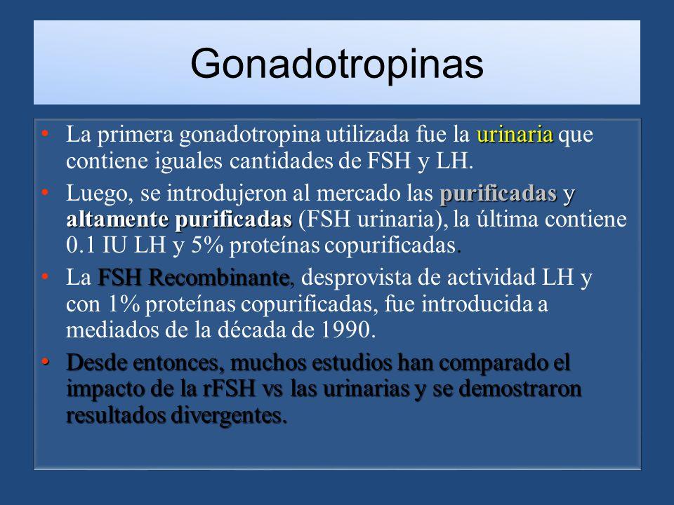 Gonadotropinas urinaria La primera gonadotropina utilizada fue la urinaria que contiene iguales cantidades de FSH y LH.