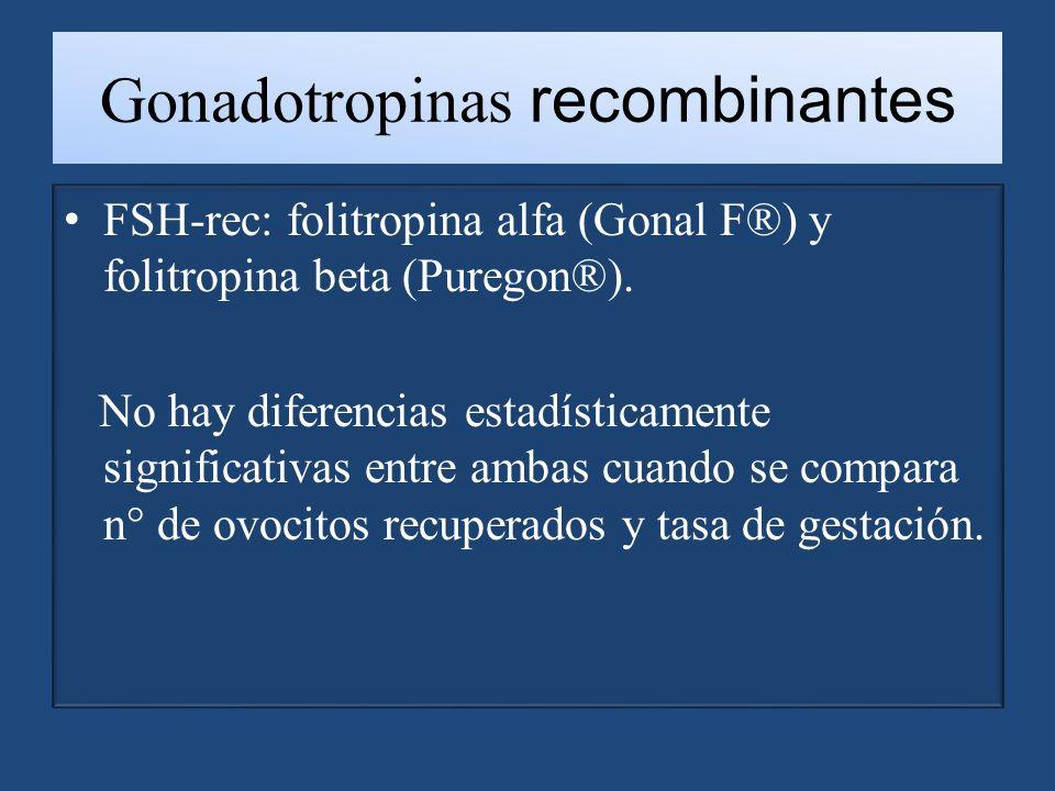 Gonadotropinas recombinantes FSH-rec: folitropina alfa (Gonal F®) y folitropina beta (Puregon®).