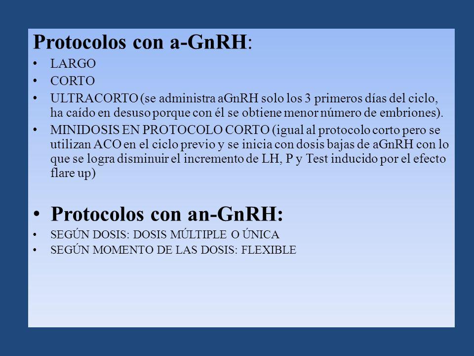 Protocolos con a-GnRH: LARGO CORTO ULTRACORTO (se administra aGnRH solo los 3 primeros días del ciclo, ha caído en desuso porque con él se obtiene menor número de embriones).