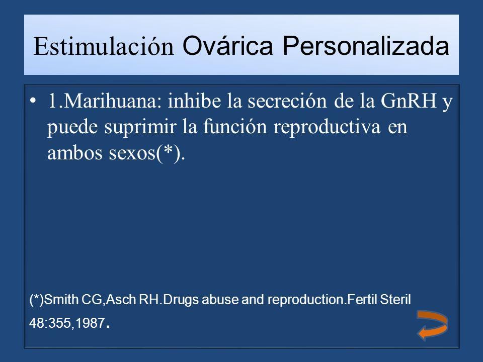 Estimulación Ovárica Personalizada 1.Marihuana: inhibe la secreción de la GnRH y puede suprimir la función reproductiva en ambos sexos(*).