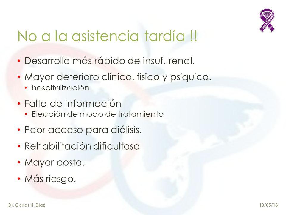 Dr.Carlos H. Diaz No a la asistencia tardía !. Desarrollo más rápido de insuf.