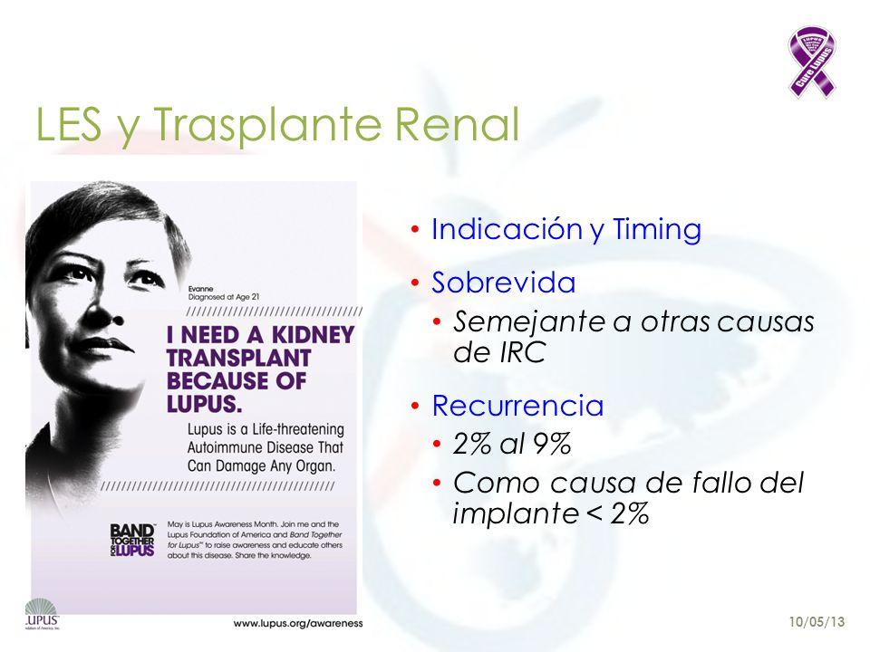 LES y Trasplante Renal Indicación y Timing Sobrevida Semejante a otras causas de IRC Recurrencia 2% al 9% Como causa de fallo del implante < 2% 10/05/13