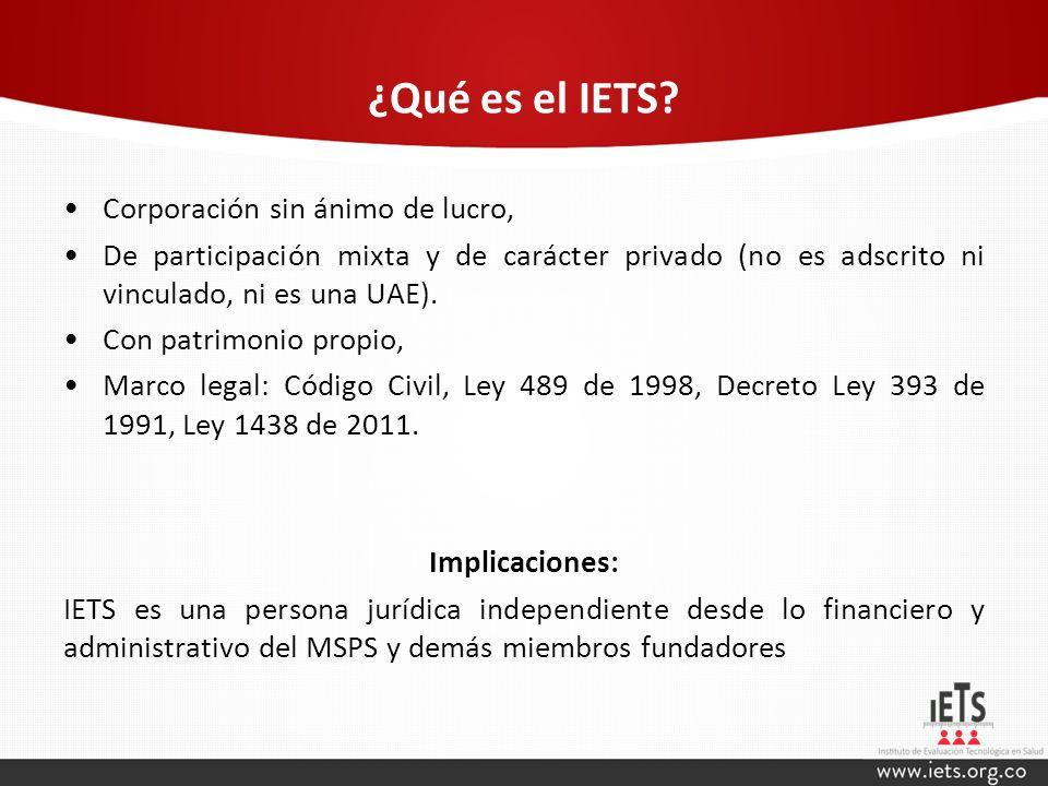 ¿Qué es el IETS? Corporación sin ánimo de lucro, De participación mixta y de carácter privado (no es adscrito ni vinculado, ni es una UAE). Con patrim