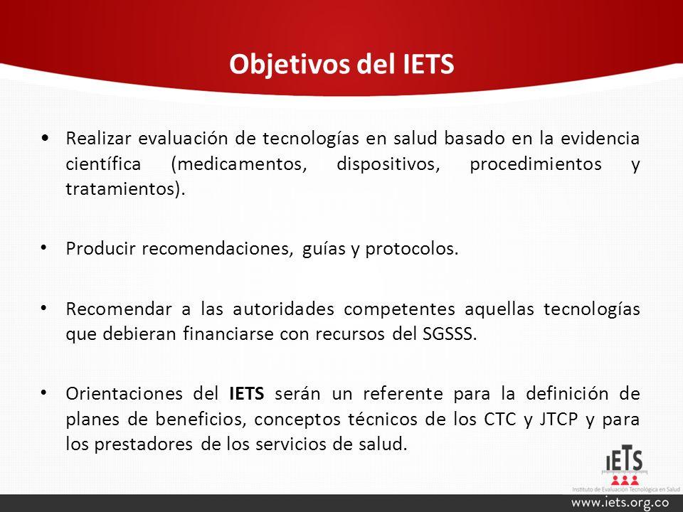 Objetivos del IETS Realizar evaluación de tecnologías en salud basado en la evidencia científica (medicamentos, dispositivos, procedimientos y tratami
