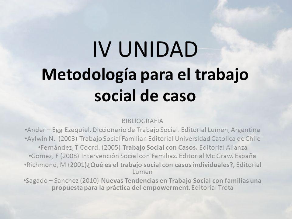 IV UNIDAD Metodología para el trabajo social de caso BIBLIOGRAFIA Ander – Egg Ezequiel. Diccionario de Trabajo Social. Editorial Lumen, Argentina Aylw