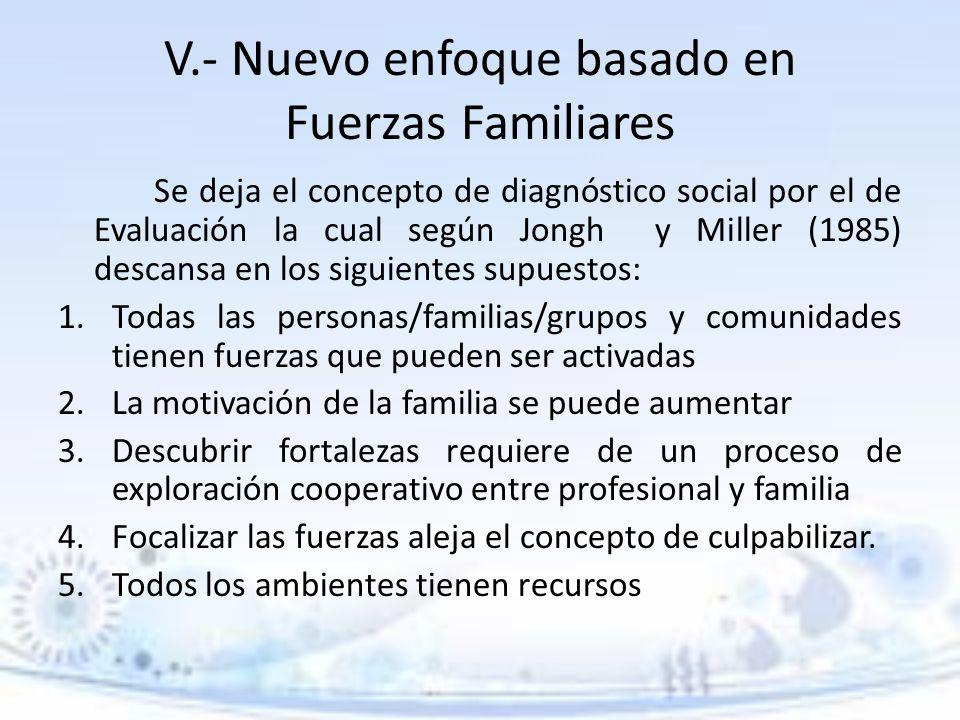 V.- Nuevo enfoque basado en Fuerzas Familiares Se deja el concepto de diagnóstico social por el de Evaluación la cual según Jongh y Miller (1985) desc