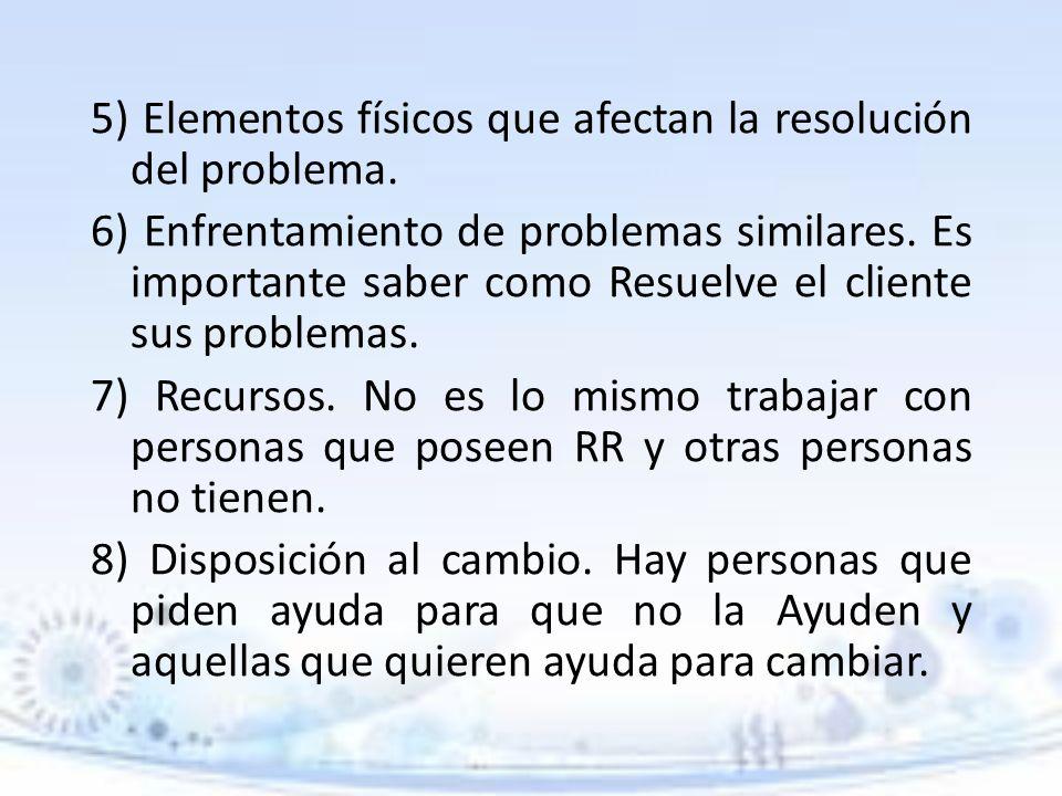 5) Elementos físicos que afectan la resolución del problema. 6) Enfrentamiento de problemas similares. Es importante saber como Resuelve el cliente su