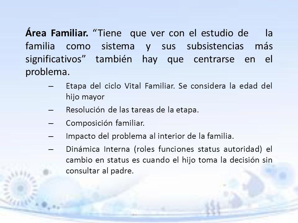 Área Familiar. Tiene que ver con el estudio de la familia como sistema y sus subsistencias más significativos también hay que centrarse en el problema