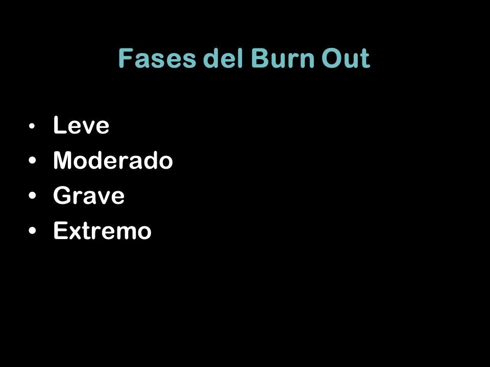Fases del Burn Out Leve Moderado Grave Extremo