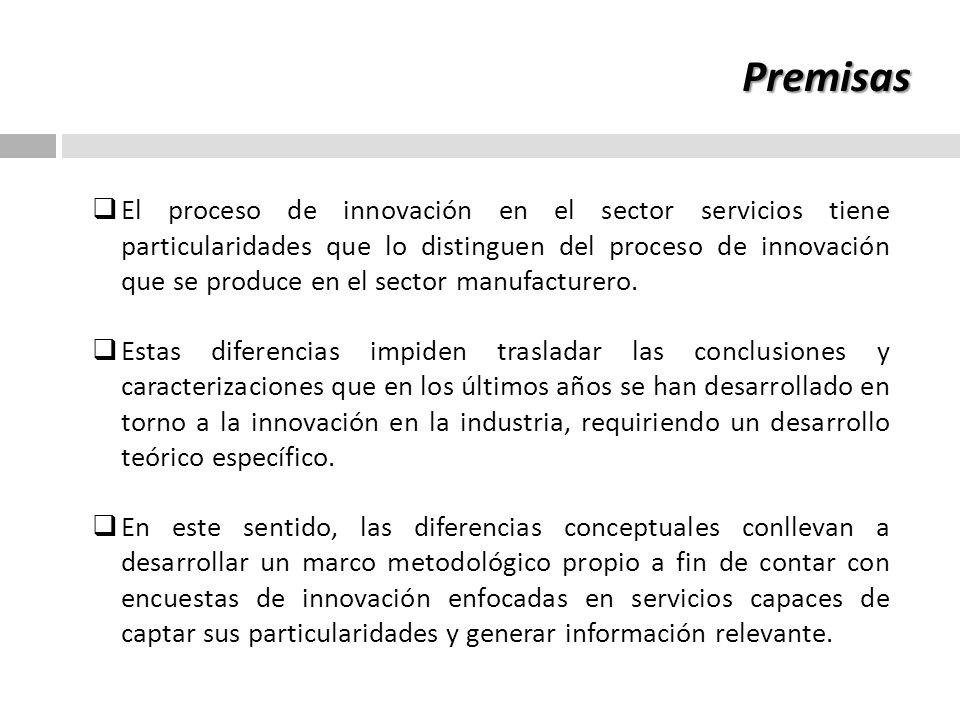 Implicaciones y efectos de las premisas La aplicación de cuestionarios desarrollados para el sector industrial estarían ofreciendo una imagen parcial y sesgada de los procesos de innovación en servicios y desconociendo sus elementos esenciales.