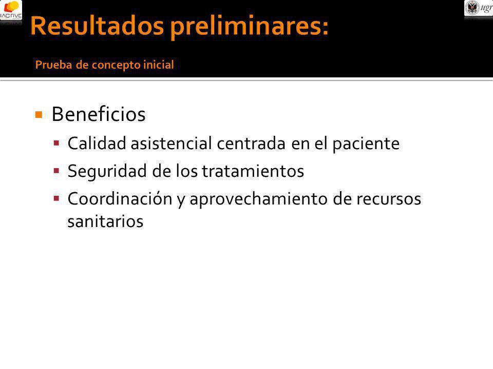 Beneficios Calidad asistencial centrada en el paciente Seguridad de los tratamientos Coordinación y aprovechamiento de recursos sanitarios
