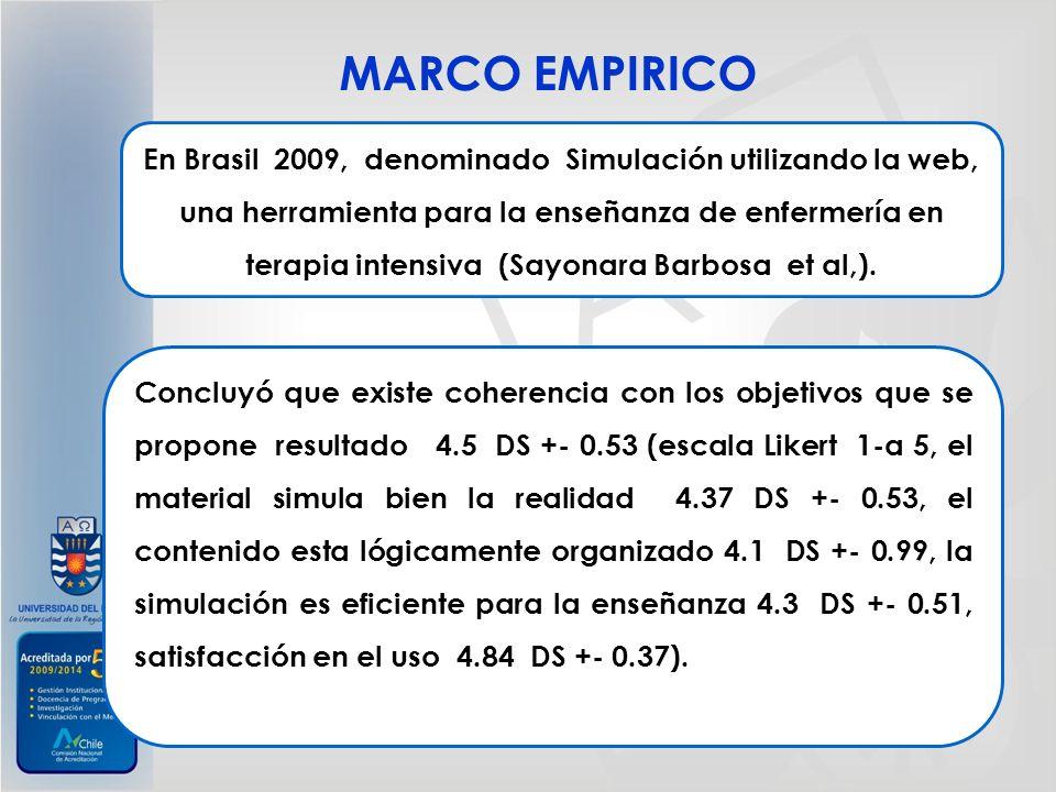 En Brasil 2009, denominado Simulación utilizando la web, una herramienta para la enseñanza de enfermería en terapia intensiva (Sayonara Barbosa et al,