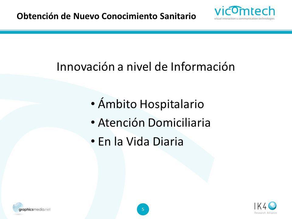 5 5 Obtención de Nuevo Conocimiento Sanitario Innovación a nivel de Información Ámbito Hospitalario Atención Domiciliaria En la Vida Diaria