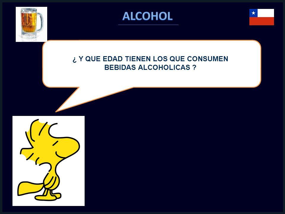 ¿ Y QUE EDAD TIENEN LOS QUE CONSUMEN BEBIDAS ALCOHOLICAS