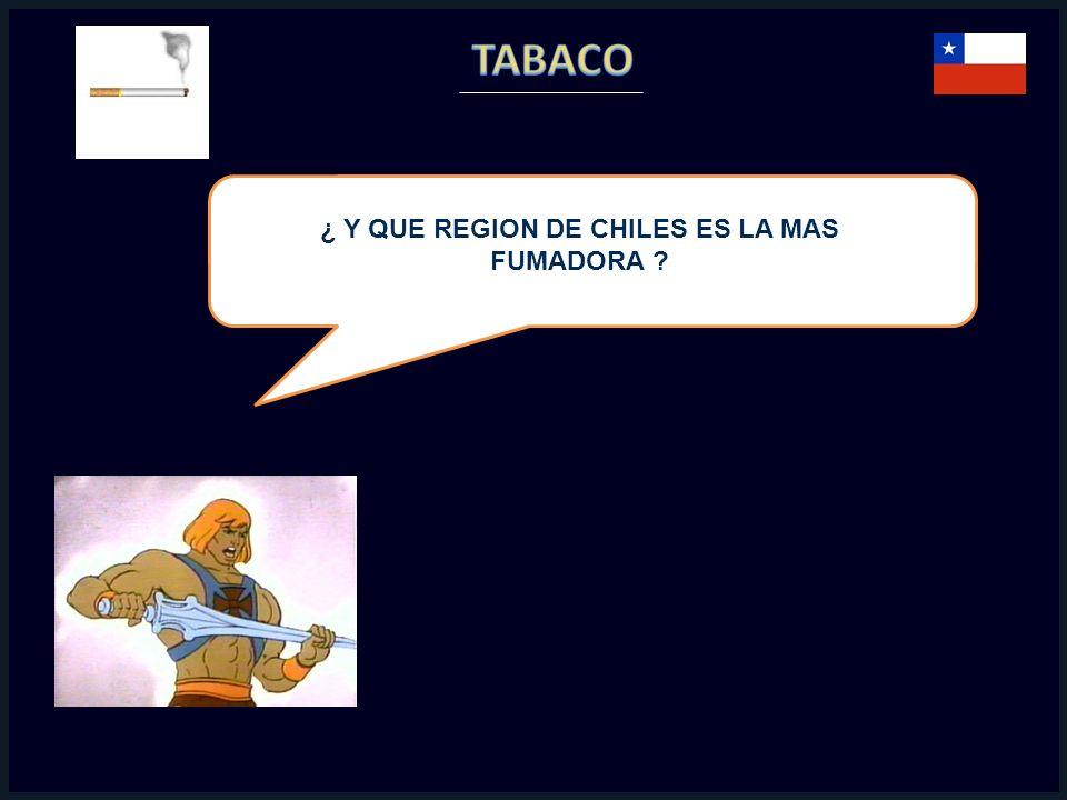 ¿ Y QUE REGION DE CHILES ES LA MAS FUMADORA ?